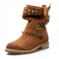 Retro Rivet Nubuck Leather Buckle Boots