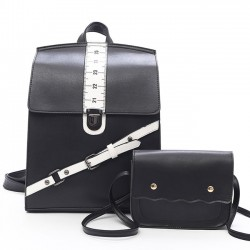Unique Design Contrast Color Ruler School Tilt Buckle Square Backpack