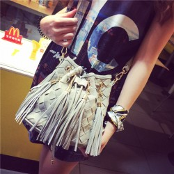 Grey Black Casual Summer Weave Tassel Shoulder Bag Fringe Knitting Messenger Bags