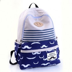 Fresh Sweet Lovely Moustache Striped College Backpack Satchel