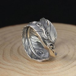 Vintage Handmade Silver Feather Open Lenient Ring