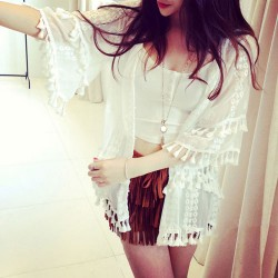 Fresh Loose Hollow Lace Embroidered Tassel Sunscreen Trumpet Sleeve Shirt Shawl