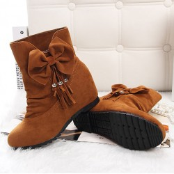 Lovely Bow Bead Tassel Within Higher Wedge Heel Folds Girls Boots