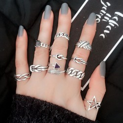 Retro Chain Feather Arrow Agate Thai Silver Open Rings