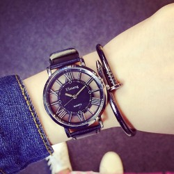 Unique Hollowed-out Designed Triangle Dial  Roman Numerals Geometric Patterns Women Watch