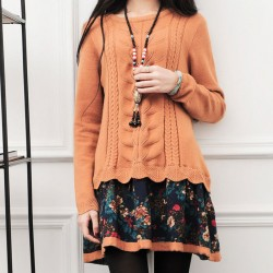 Winter Loose Knitwear Splice Twist Pattern Flower Coat Sweater Dress