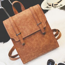 Retro Brown Metal Lock Match Large Scrub High School Bag Matte Square PU Backpack
