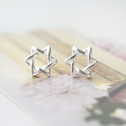 Fashion Star Winding Hexagram Silver Earring Studs