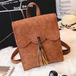 Retro Simple PU Tassels Women Student Backpack School Bag