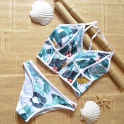Tropical Plant Printing Bikini Sexy Swimsuit Suit Bathing Swimwear