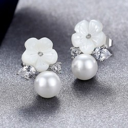 Fashion Ocean Style Diamond-bordered Flower Pearl Silver Women Earring Studs