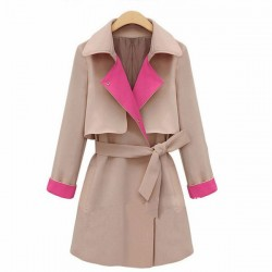 New Fashion Cream Lapel Belt Women Bow Windbreaker/Jacket