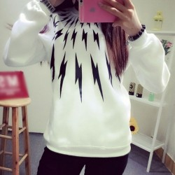 Autumn Leisure Unisex Loose O-neck Long Sleeve Flash Pattern Top