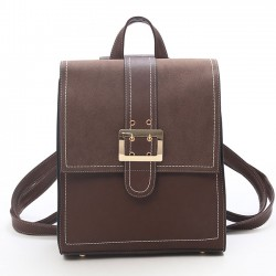 Retro British PU Leather Brown Single Button  Multi-function Shoulder Bag Square Backpack