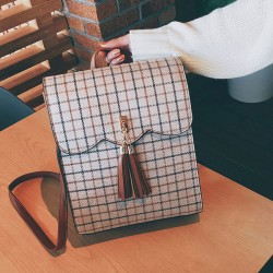 Retro Lattice Ruffle Tassel Square British School Bag Student Backpack