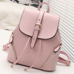 Fresh Pink PU Flap Draw String Zipper Lock Belt Rivets Girl's School Backpack