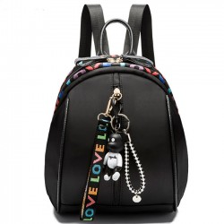 Pure Color Bear Decor Girls Black Oxford Backpack