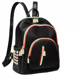 Unique Rivet Contrast Color Zippers Black Nylon College Backpack