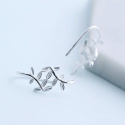 Sweet Leaves Earring Fresh Silver Leaf Drop Earrings