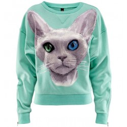 Blue Eye Cat Print Warm Loose Cotton Sweatshirt