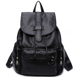 Leisure Soft Black Leather Women Travel Bag Simple College Backpack
