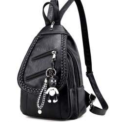 Leisure PU Black Weave Bag Small Multi-function Shoulder Bag Lightweight Woven Backpack