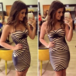 Fashion Stripe Chest Wrapped Women Dress Party Dress