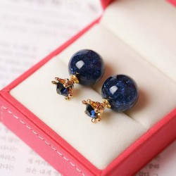 Fashion Ice Crystal Ball Crown Dual-purpose Round Deep Blue Women Earring Studs