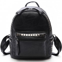 Leisure Leather Punk Rivet College Women's Backpack