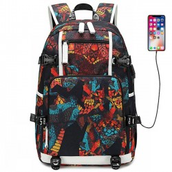 Cool Complex Pattern High School Bag USB Interface Waterproof Oxford Boy Sport Backpack