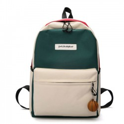Cute Contrast Color High School Rucksack Student Bag Large Canvas Backpack