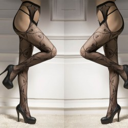 Sexy Vine Fishnet Flower Bow Jacquard Women Stockings