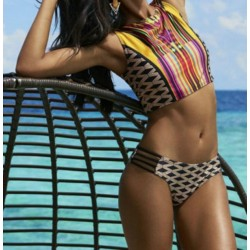 Vest style split swimsuit Rope Plaid Stripes Geometric Print Bikini
