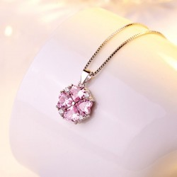 Fashion Love Heart Shape Crystal Pendant Necklace Valentine Gift Women's Clavicle Silver Necklace