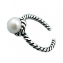 Vintage Flower Pearl Star Twist Women Open Silver Rings