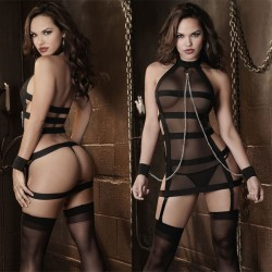 Sexy Stripe Women Perspective Cosplay Prisoner Lingerie