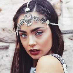 Vintage Ethnic Metal Engraving Drop Tassel Headband Hair Accessories