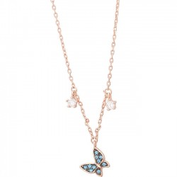 Cute Blue Butterfly Pendant Silver Rose Gold Necklace Lover Gift Student Present Women Necklace