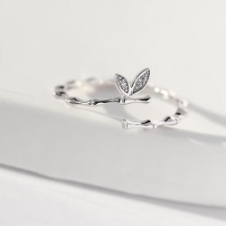 Sweet Branch Two Leaves Silver Girlfriend Gift Open Ring