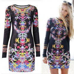 Retro Folk Orchid Floral Pattern Long Sleeve O-neck Slim Dress