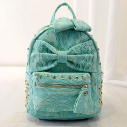 Sweet Lace Silk Bowknot Rivet Backpacks