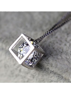 Sterling Silver Square Crystal Necklace