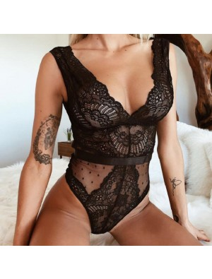 Sexy Hollow Lace Mesh Conjoined Black Lady's Lingerie