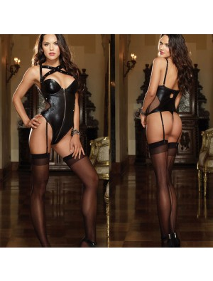 Sexy Rivet Patent Leather Zipper Conjoined Hot Tight Teen Girls Lingerie