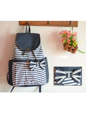 Fashion College Navy Bow Striped Backpacks