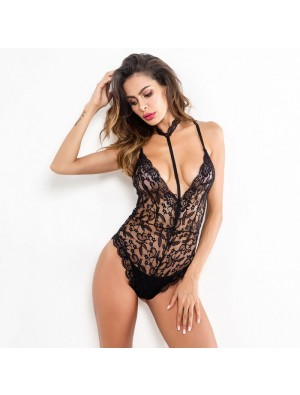Sexy Lace Conjoined Neck Ring Intimate Flower Hollow Women's Lingerie
