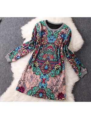 Retro Print Temperament Long-sleeved Wool Dress