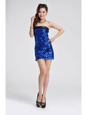 Sexy Sequin Strapless Splice Dress