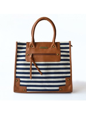 Korean Navy Style Geometry Striped Handbag