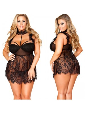 Sexy Lace Nightdress Black Underwear Perspective Large Size Women Intimate Lingerie